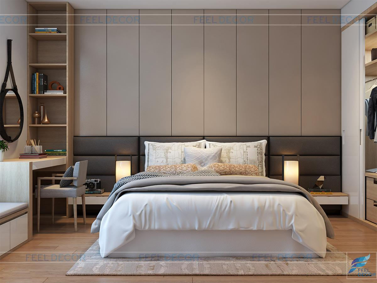 Không gian nội thất phòng ngủ Master căn hộ 3 phòng ngủ