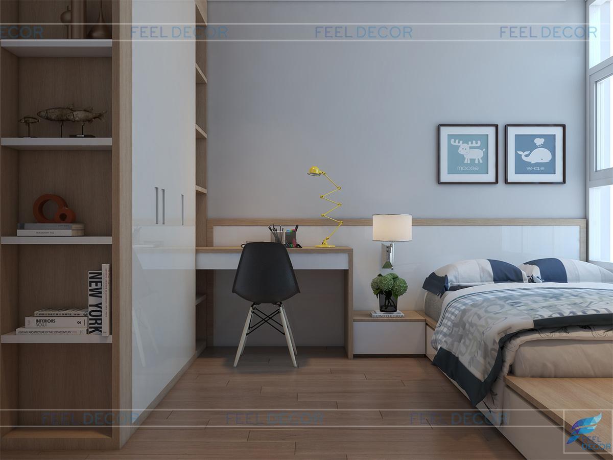 thiết kế thi công nội thất phòng ngủ trẻ em căn hộ chung cư Hoàng Anh Thanh Bình