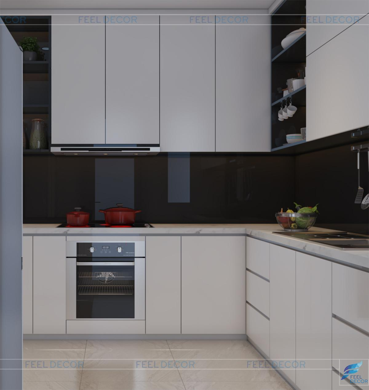 Thiết kế thi công nội thất phòng bếp căn hộ 117m2 3 phòng ngủ