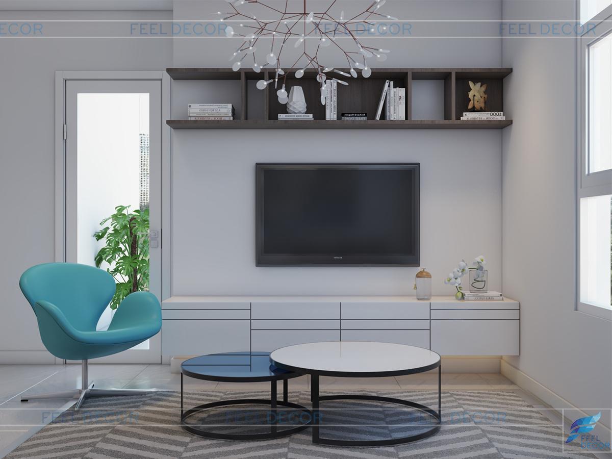 Thiết kế thi công nội thất phòng kháchcăn hộ 117m2 3 phòng ngủ