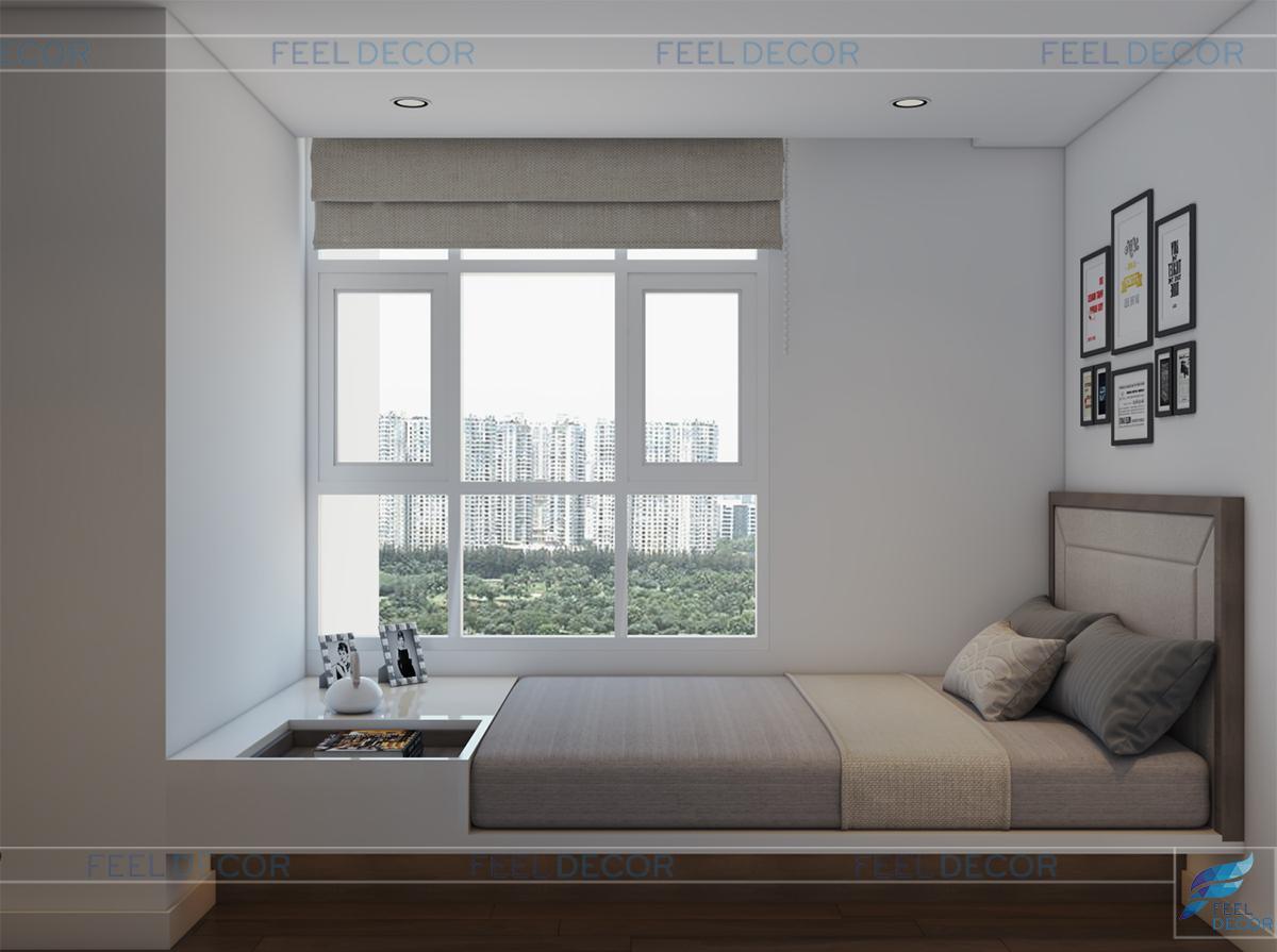 Thiết kế thi công nội thất phòng ngủ phụ căn hộ 117m2 2 phòng ngủ