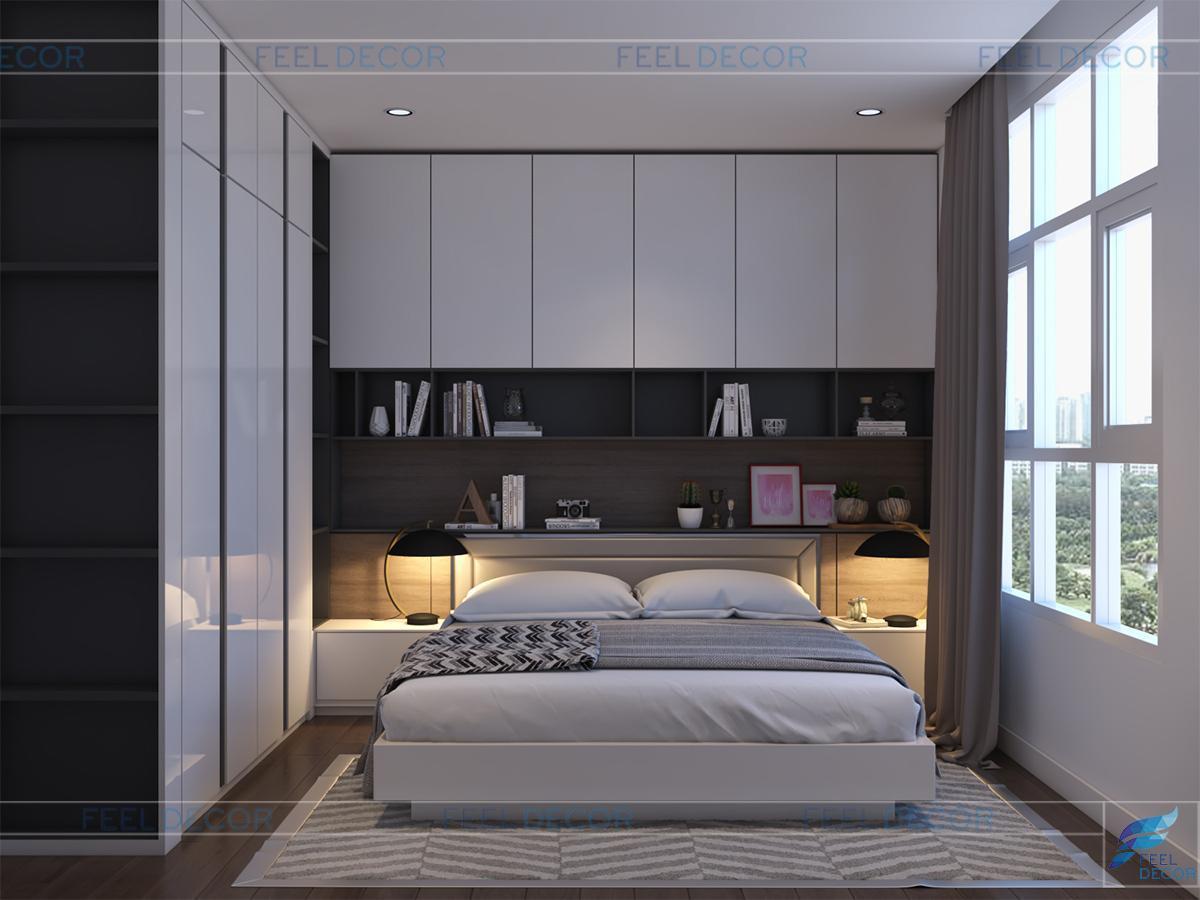 Thiết kế thi công nội thất phòng ngủ master căn hộ 117m2 2 phòng ngủ