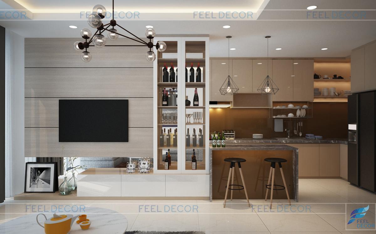 Thiết kế nội thất phòng khách căn hộ 120m2 chung cư Green Valley
