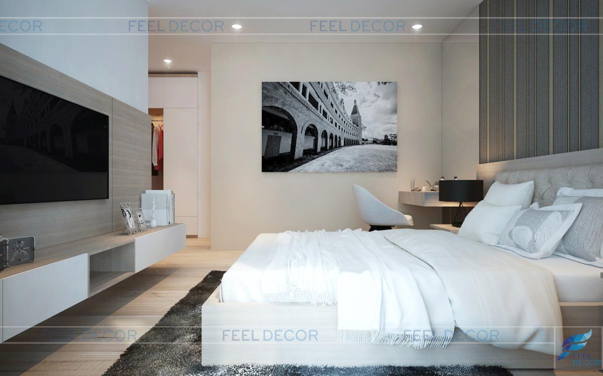 Thiết kế nội thất phòng ngủ căn hộ 120m2 chung cư Green Valley
