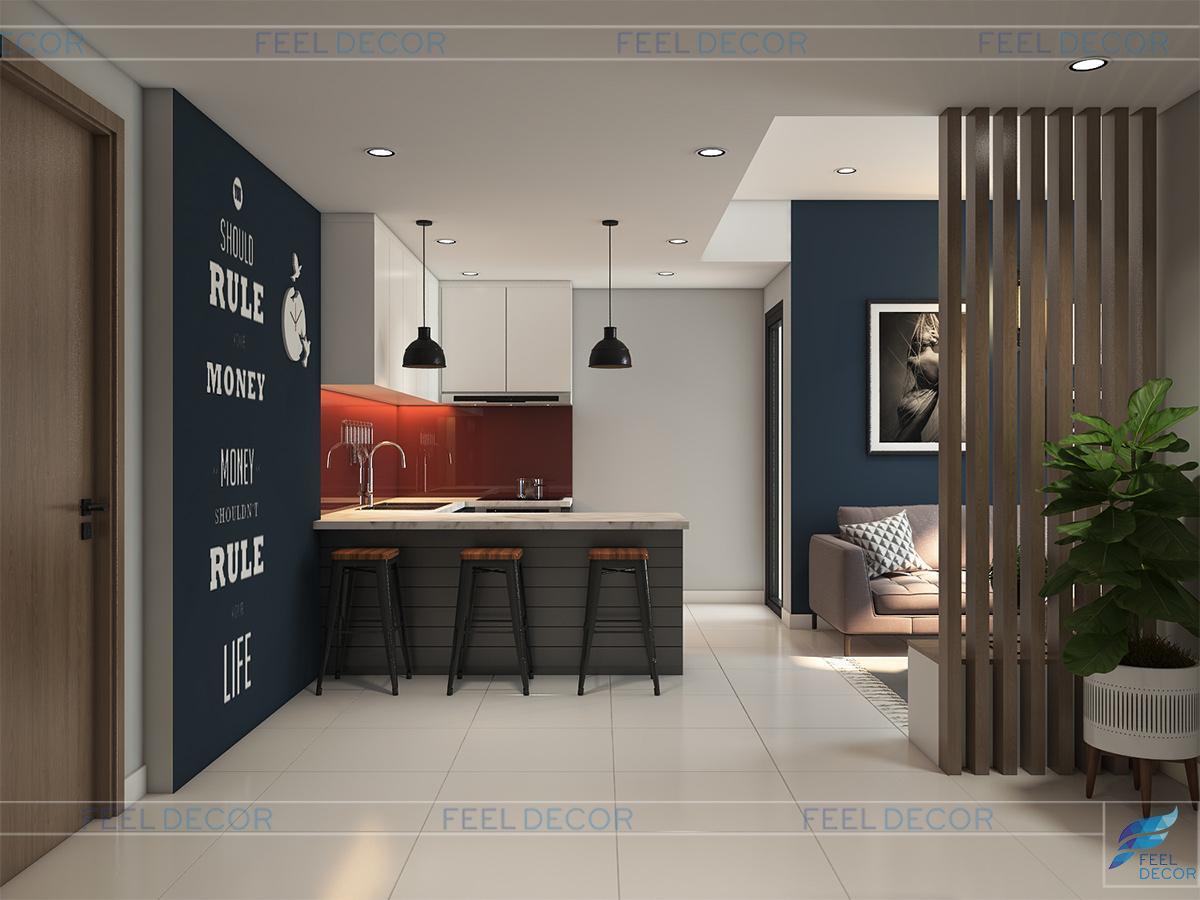 thiết kế phòng bếp tông màu xanh