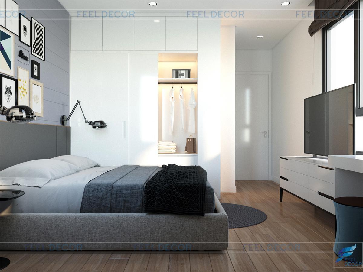 thiết kế nội thất phòng ngủ căn hộ 80m2 chung cư Masteri sang trọng