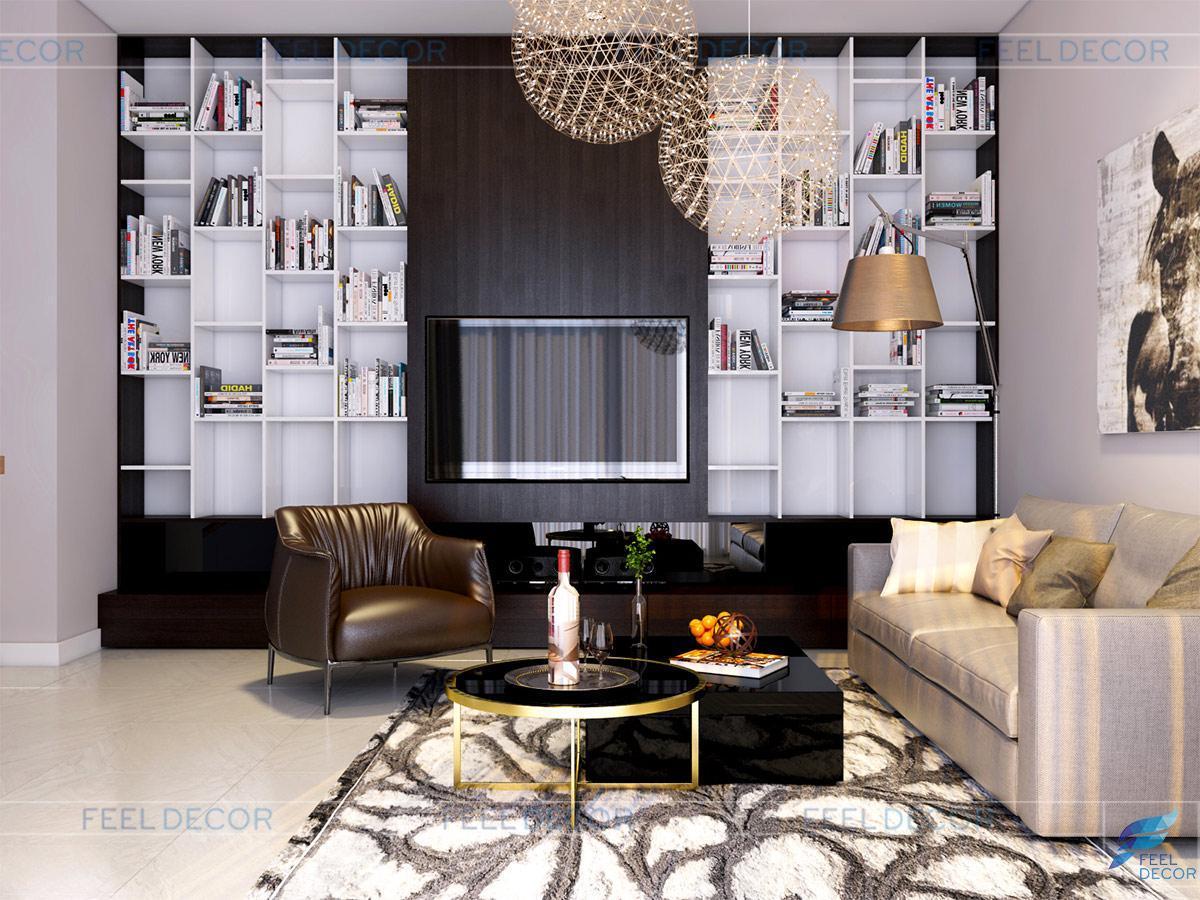 Thiết kế nội thất phòng sinh hoạt chung căn hộ Penthouse chung cư Hoàng Anh Thanh Bình