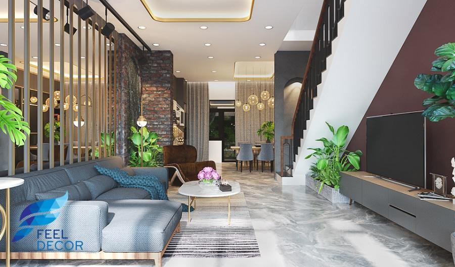 nội thất phòng khách nhà phố hiện đại xanh mát