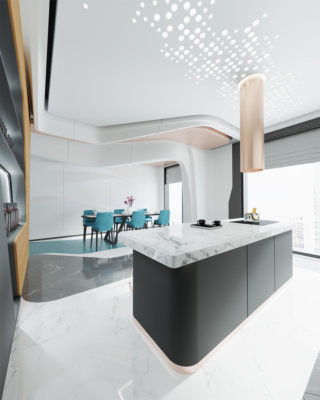 phòng bếp cho phong cách hiện đại