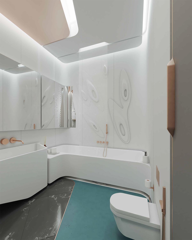 phòng tắm căn hộ phong cách hiện đại