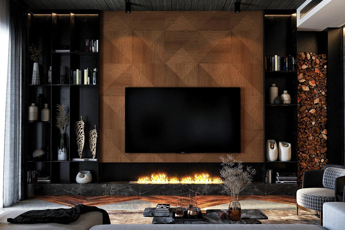 thiết kế thi công nội thất phòng khách hiện đại