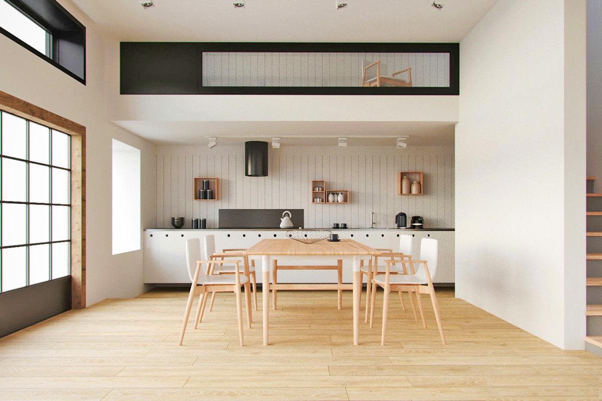 Thiết kế nội thất nhà bếp đơn giản với gam màu trắng