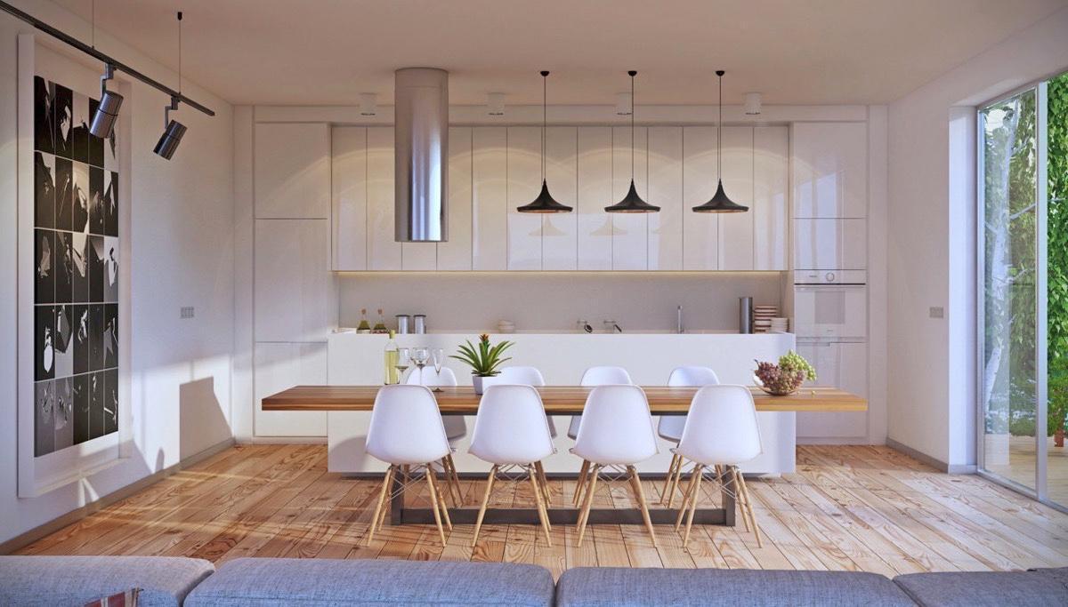 thiết kế nội thất nhà bếp màu trắng