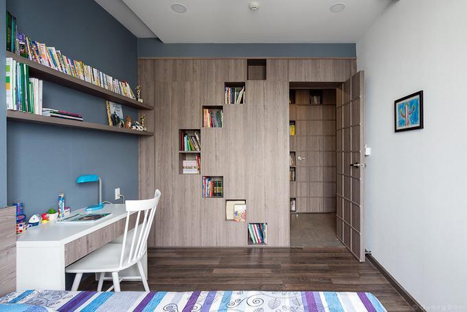 Hình ảnh: thiết kế nội thất phòng đọc sách thu nhỏ trong phòng ngủ căn hộ