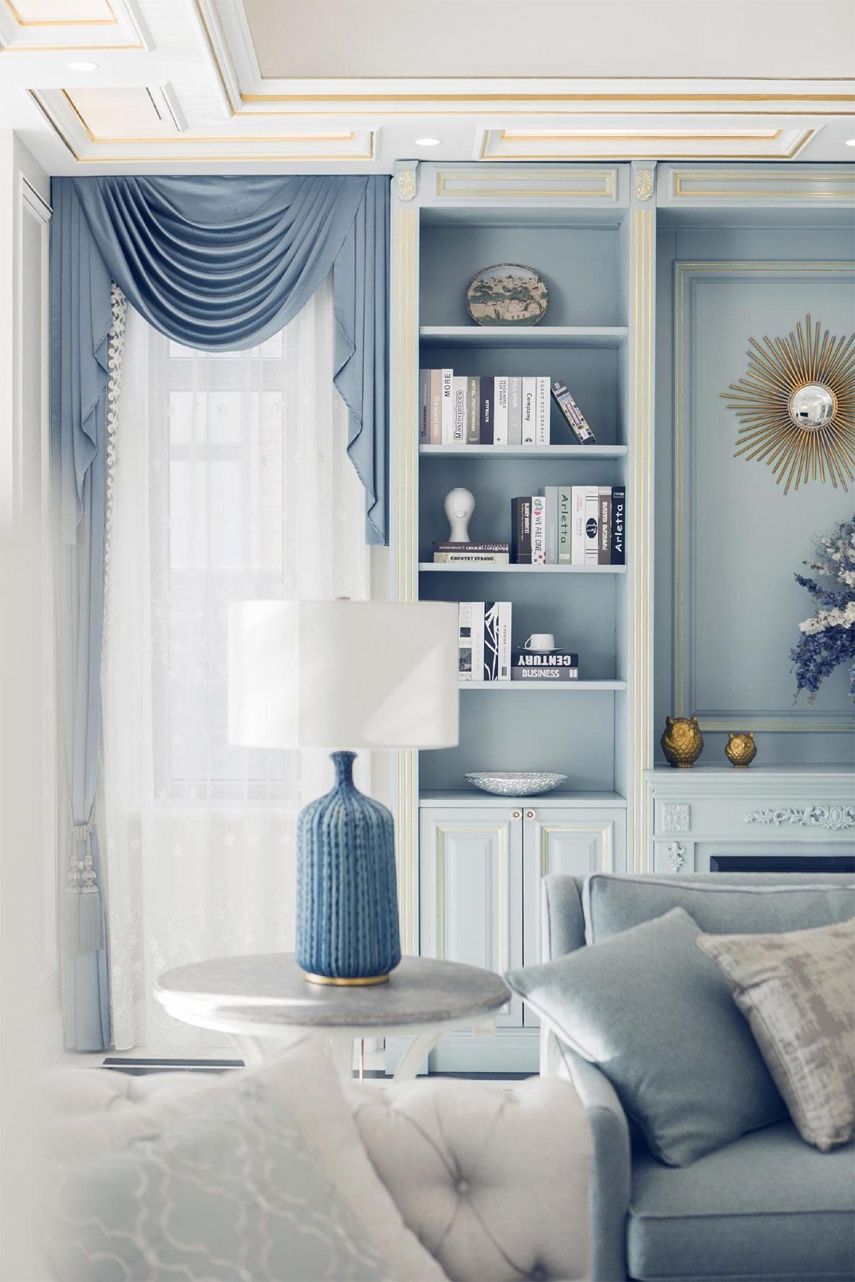 Căn hộ theo phong cách Scandinavian nhẹ nhàng lấy cảm hứng màu xanh lam