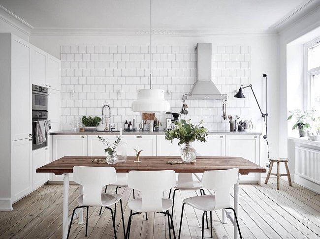 Phòng ăn phong cách bắc âu gam màu trắng