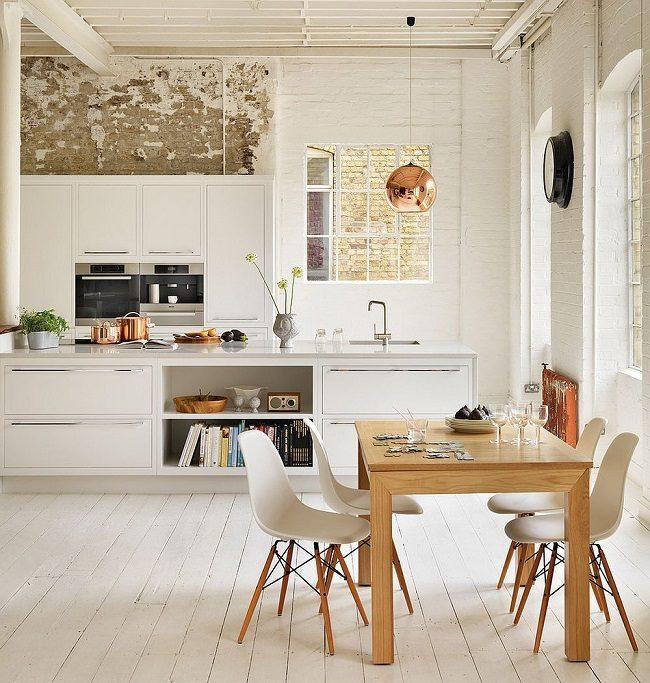 Phòng ăn phong cách scandavian gam màu ấm