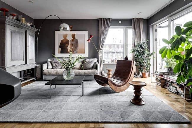 phòng khách scandinavian màu xám