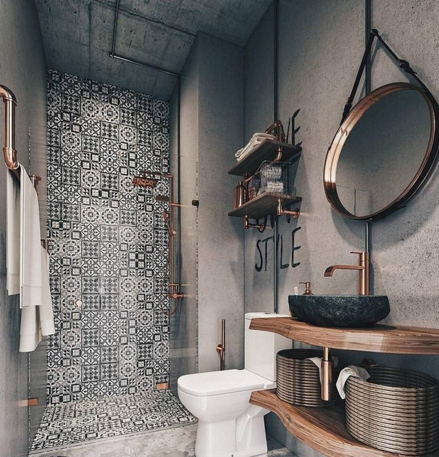phòng vệ sinh màu xám