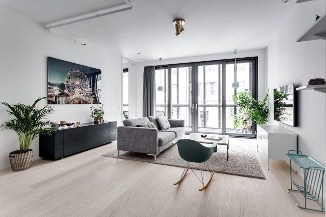 thiết kế nội thất phòng khách phong cách bắc âu