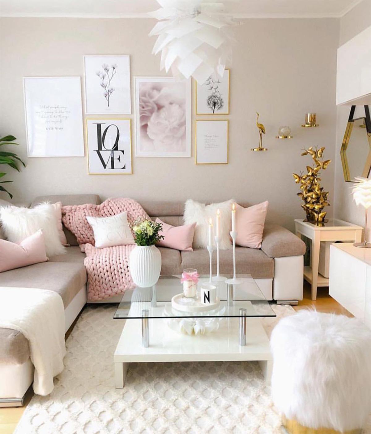 Thiết kế phòng khách với gam màu pastel