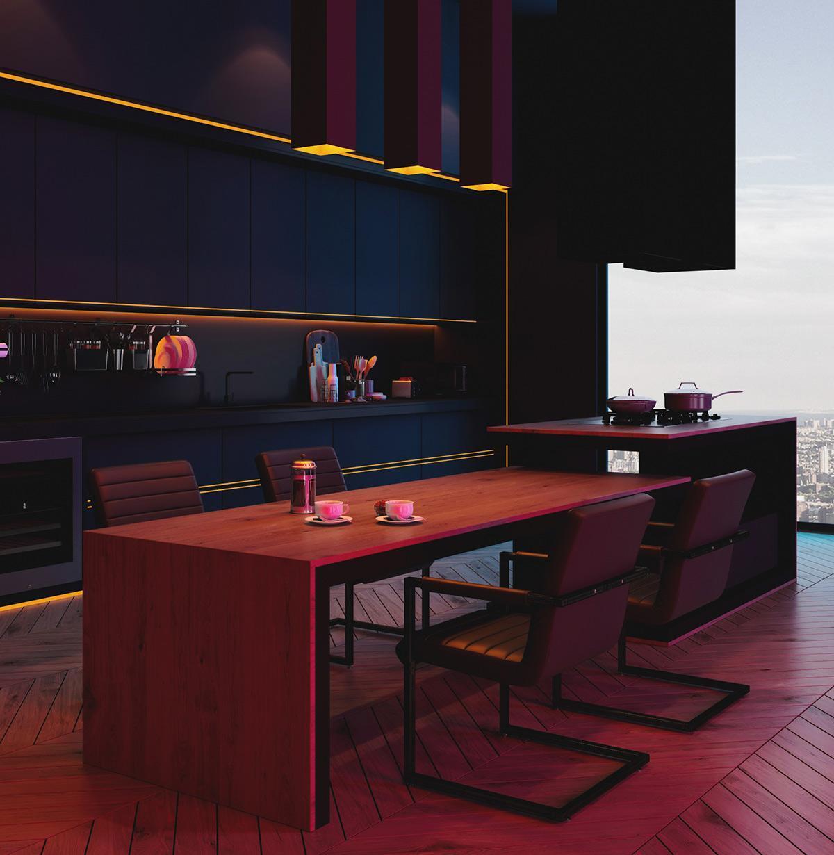 Thiết kế nội thất phòng bếp căn hộ đẹp