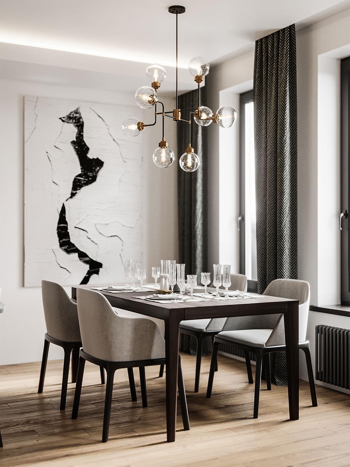 phòng ăn căn hộ mang phong cách minimalism