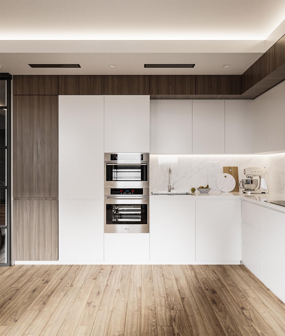 phòng bếp hiện đại, tối giản