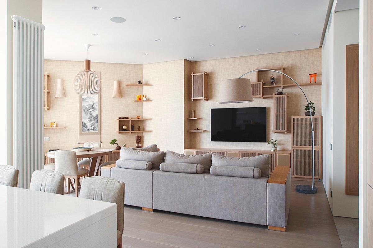 Thiết kế nội thất phòng khách căn hộ tối giản