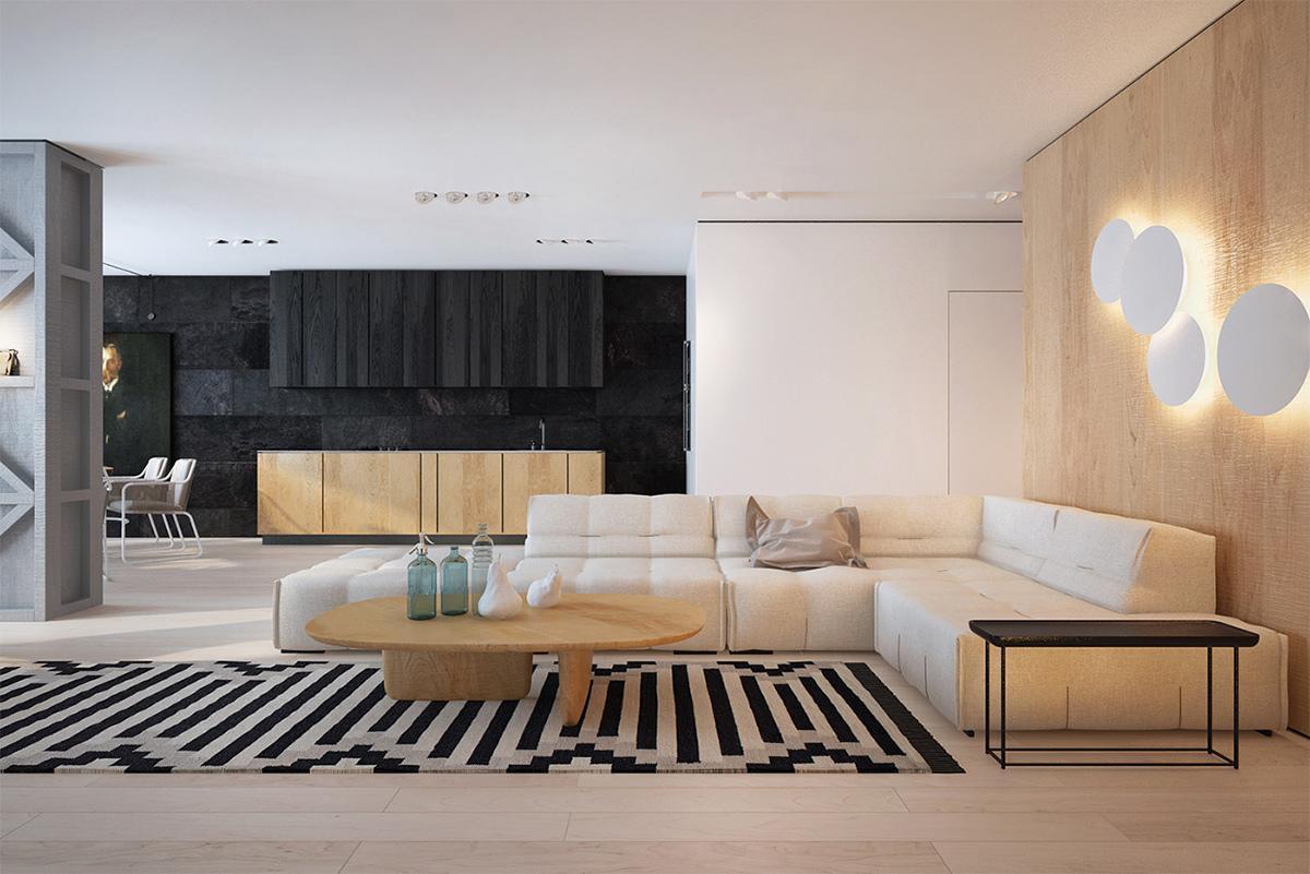 thiết kế phòng khách với phong cách minimalism