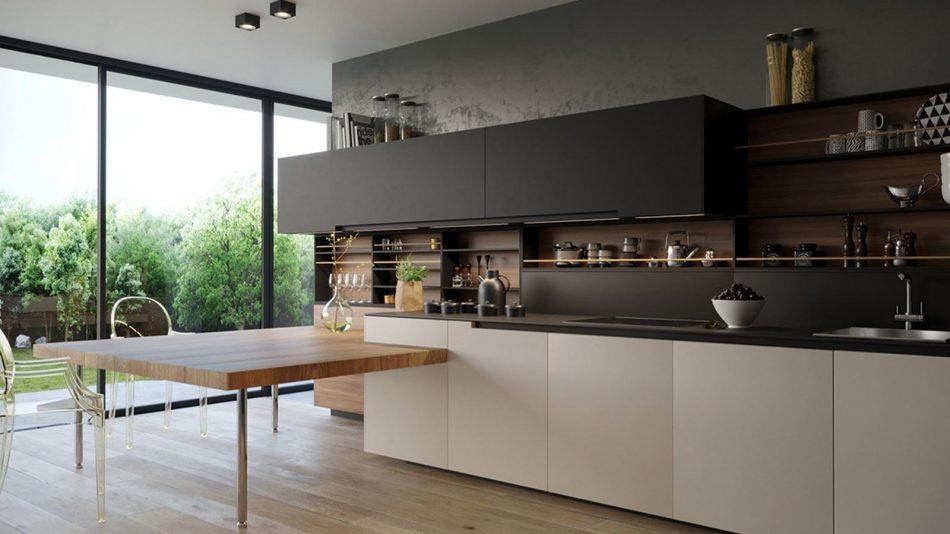 thiết kế nội thất phòng bếp gam màu pastel