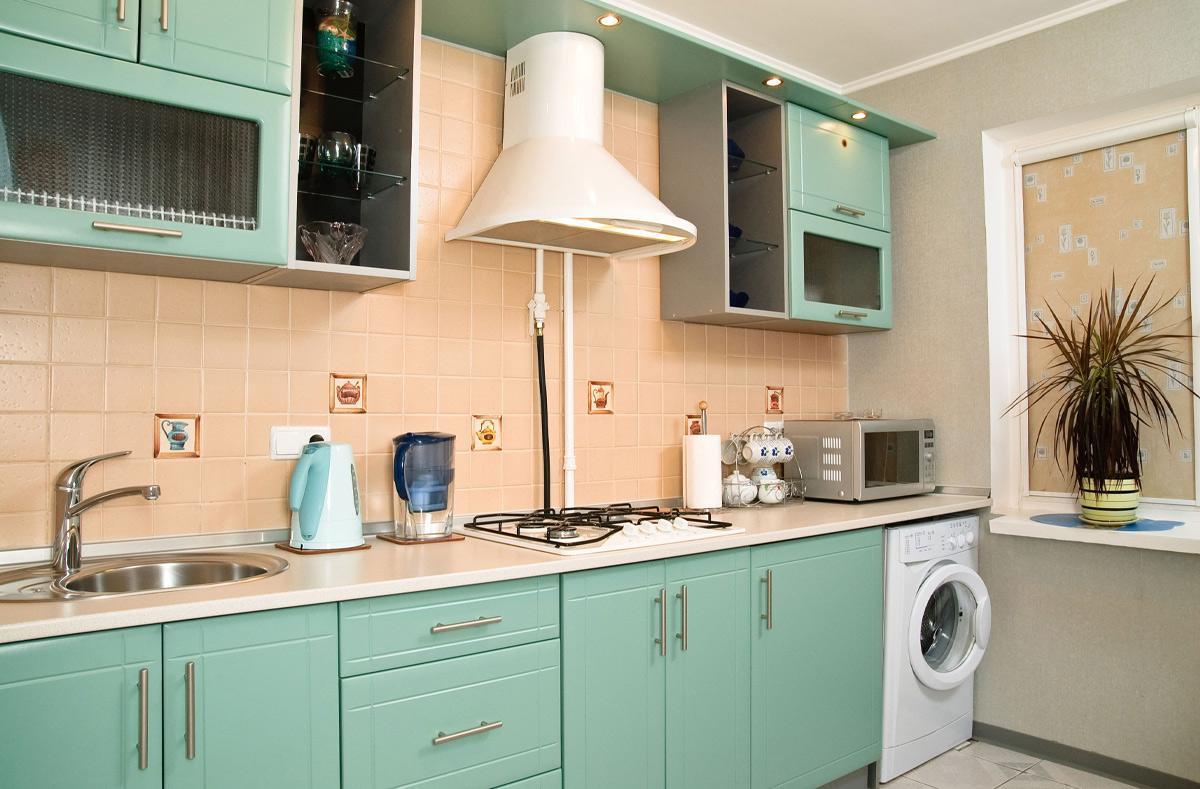 Pha trộn nhiều tông màu pastel tạo vẻ đẹp tươi mới cho nội thất phòng bếp