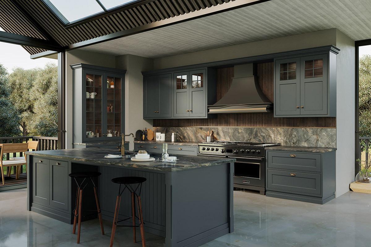 Mẫu phòng bếp hiện đại với gam màu xanh dương pastel