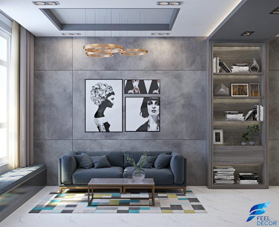 Thiết kế thi công nội thất phòng khách chung cư Hoàng Anh Thanh Bình