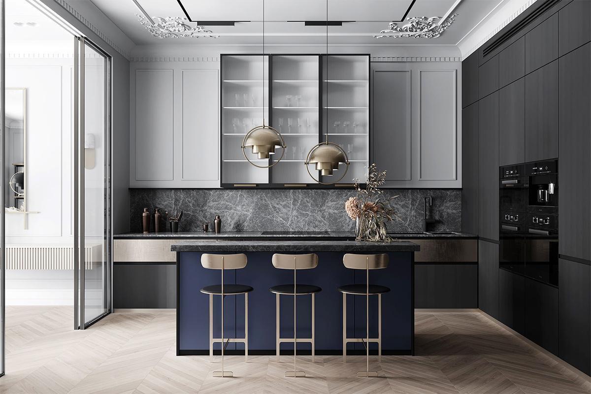 Nội thất phòng bếp theo lối phong cách tân cổ điển