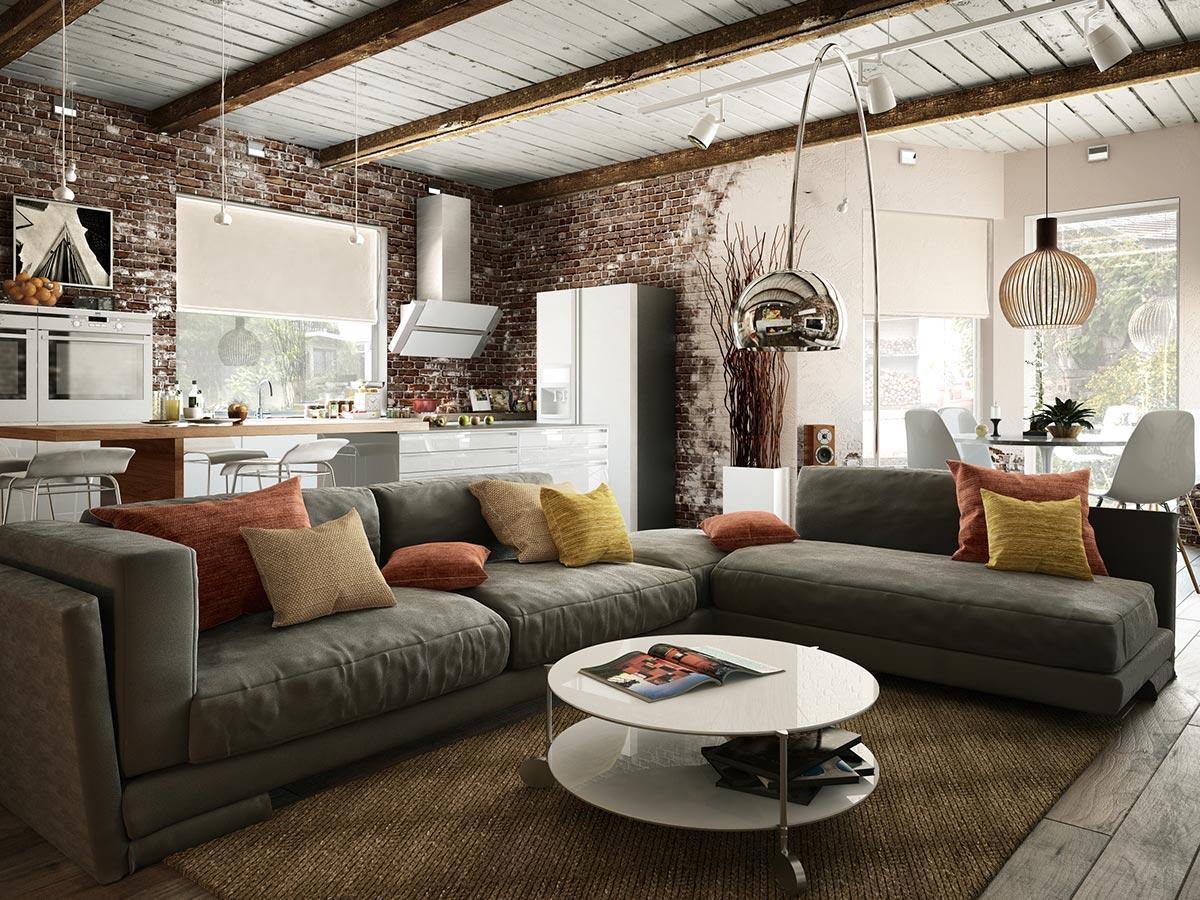 thiết kế phòng khách phong cách công nghiệp
