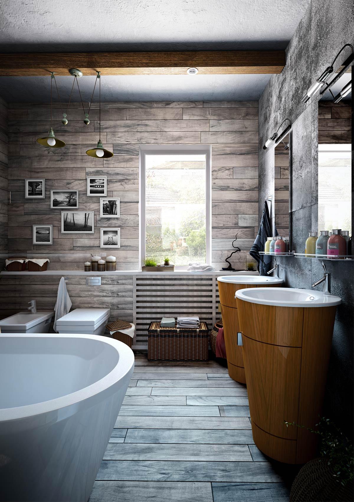 thiết kế phòng tắm theo phòng cách công nghiệp