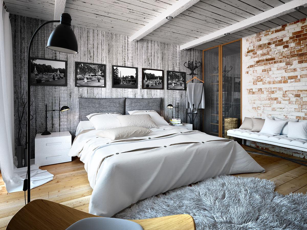 thiết kế phòng ngủ phong cách công nghiệp