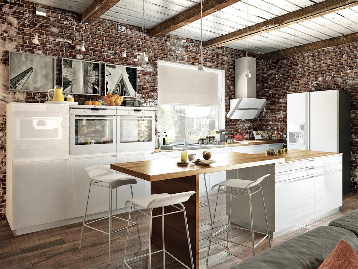 phòng bếp phong cách industrial