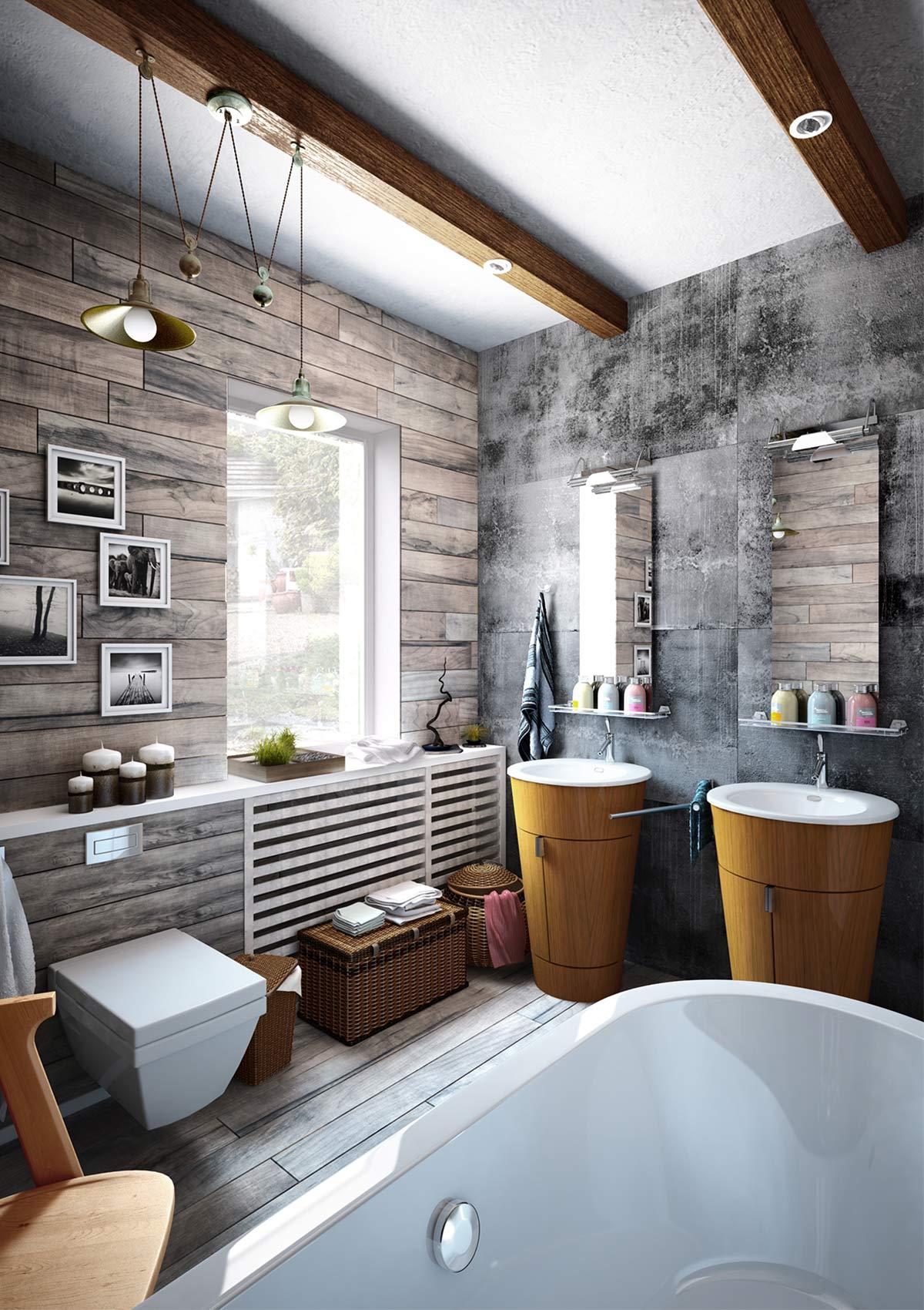 phòng tắm thiết kế theo phong cách industrial