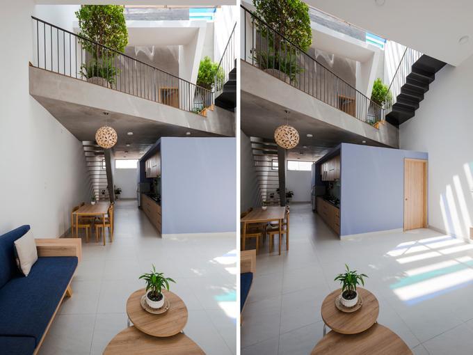 Khu đất nở hậu được xây thành nhà 3 tầng với tổng diện tích 160 m2. Chủ nhà hạn chế tối đa không gian dành cho các phòng ngủ, cầu thang.