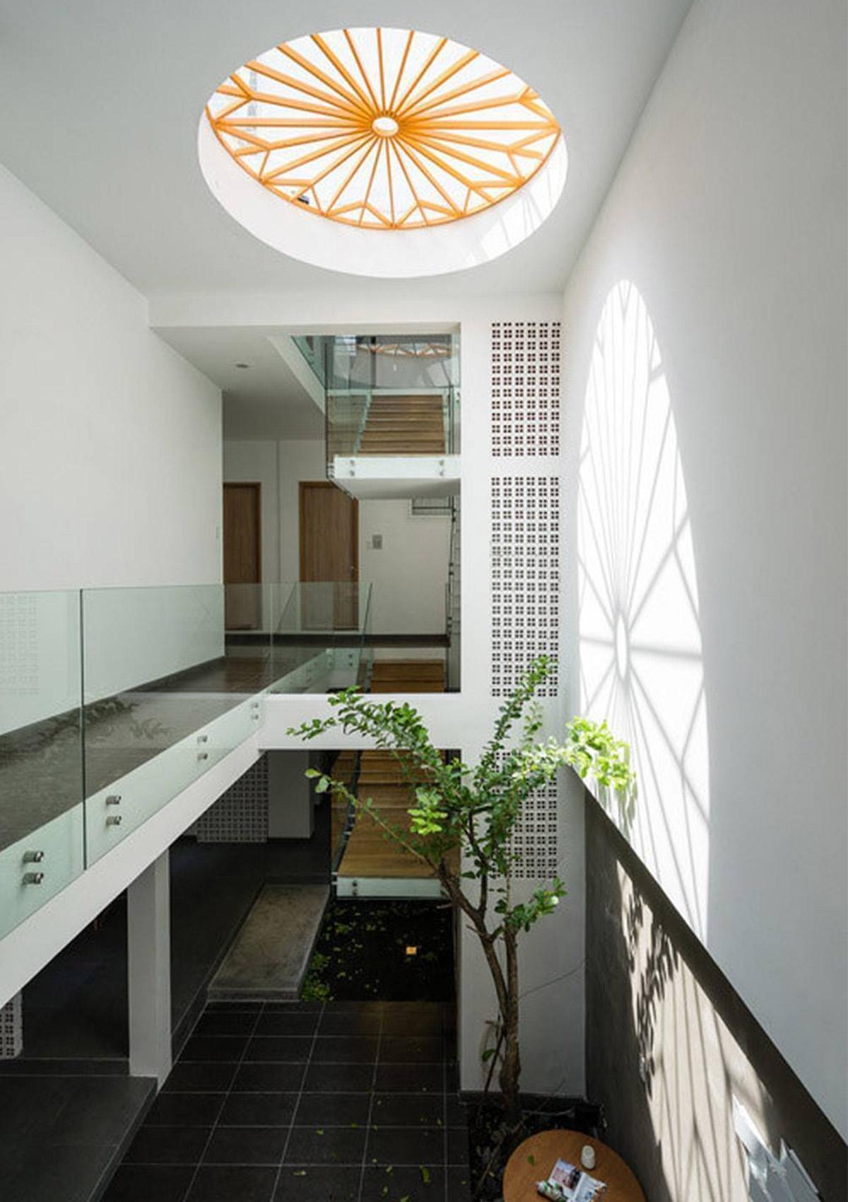 thiết kế căn nhà có sử dụng giếng trời