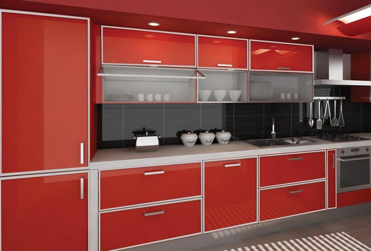 trang trí phòng bếp màu đỏ