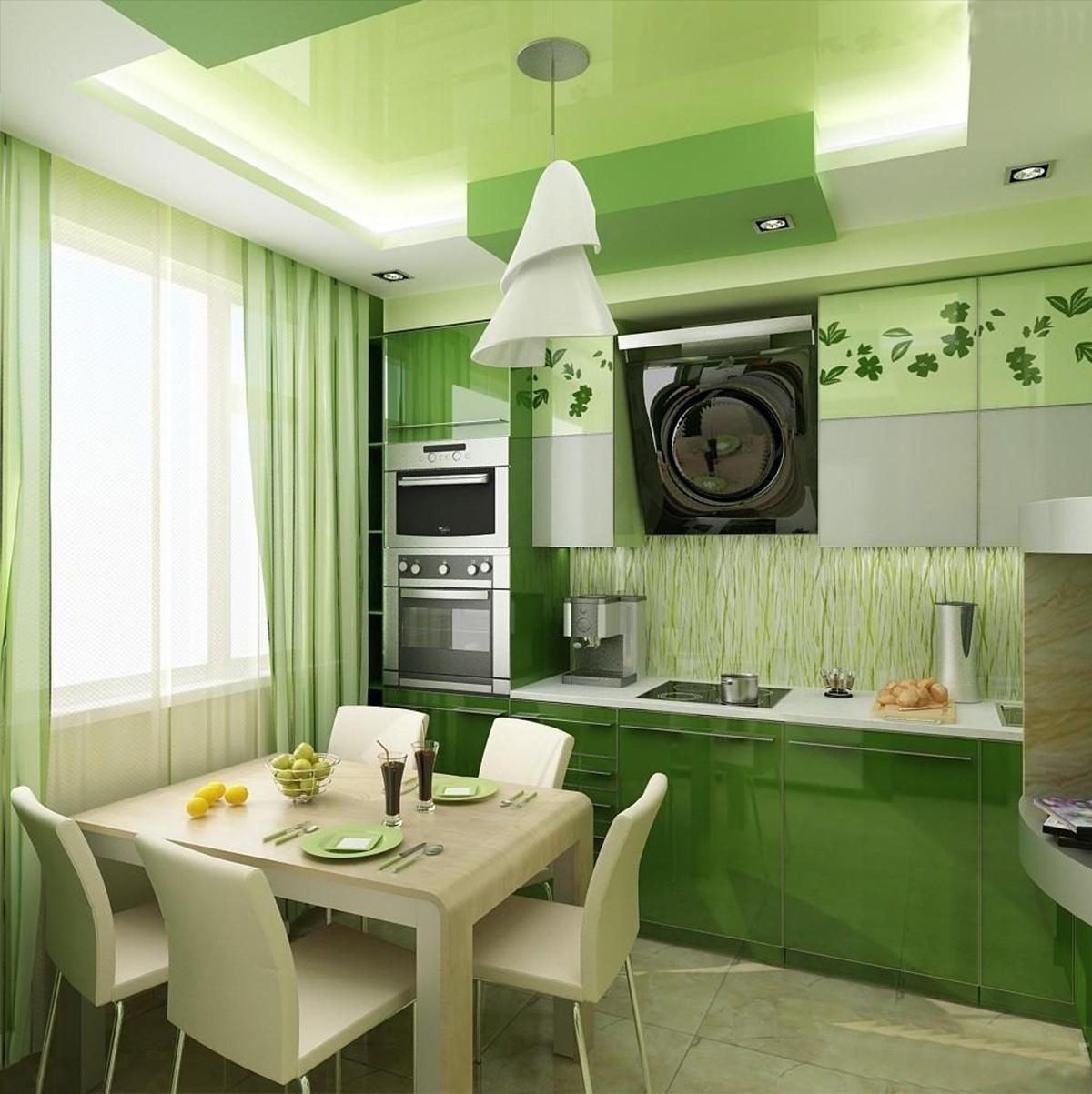 Trang trí phòng bếp với màu xanh lá