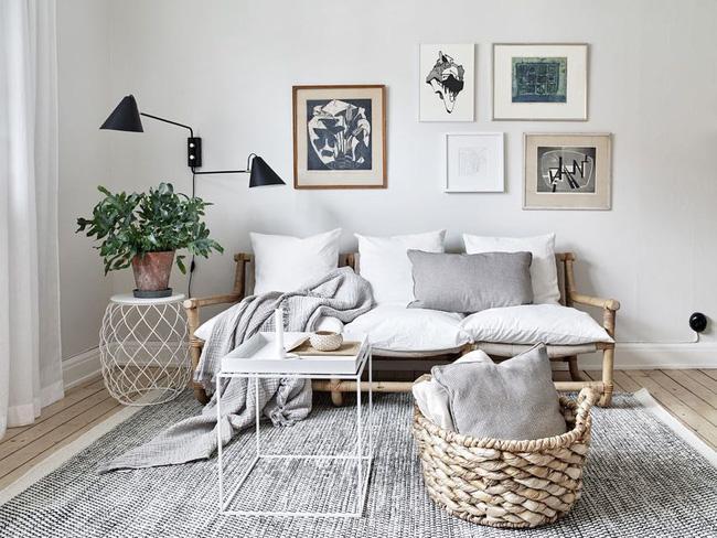 Phòng khách đẹp tinh tế với màu trung tính.