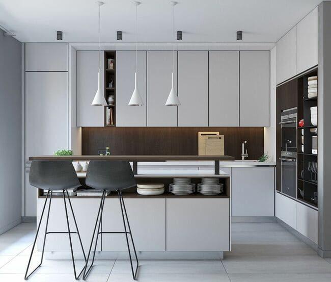 phòng bếp màu xám trắng
