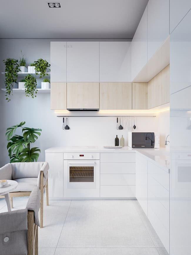 phòng bếp tone màu trắng