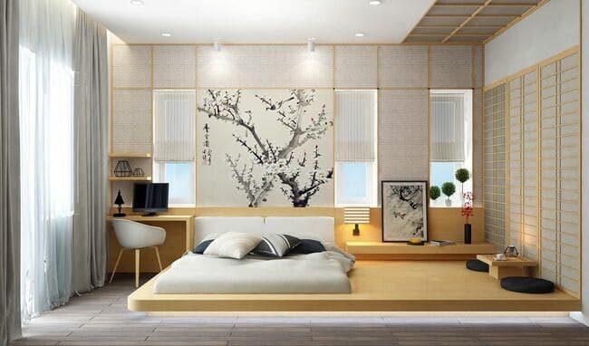 phòng ngủ màu sáng ấm