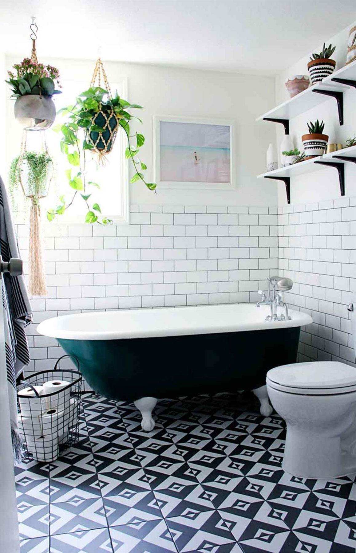 Thiết kế nội thất phòng tắm với cây xanh