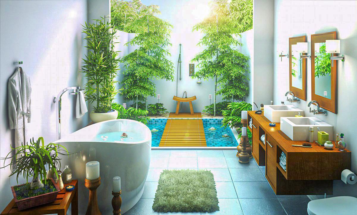 phòng tắm rộng rãi, thư giãn